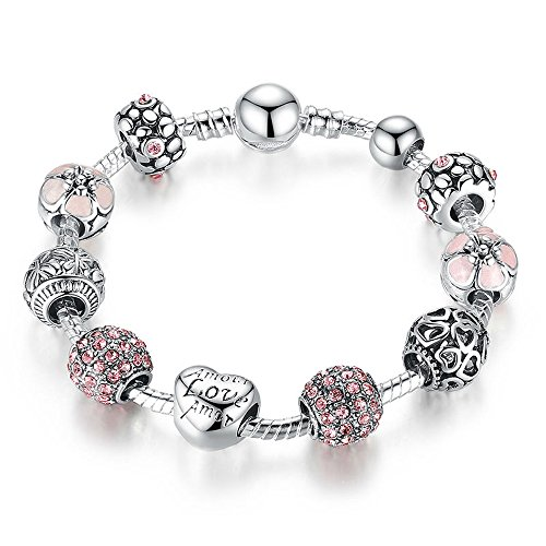 Everbling Love Hearts Silver Plated Charm Bracelet with CZ and Glass Beads (Pink Love Hearts 7