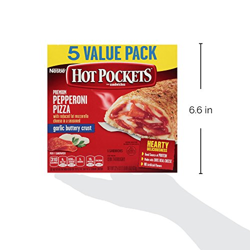Hot Pockets, Pepperoni Pizza in a Garlic Buttery Crust, 5 sandwiches, 22.5 oz (frozen): Amazon.com: Grocery & Gourmet Food