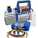 Smartxchoices 4 CFM Electric Single-Stage Rotary Vane Deep Vacuum Pump & 1/4HP HVAC A/C Refrigeration Kit AC Manifold Gauge Set R410a/R134a (#5)
