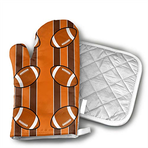 Cleveland Browns Fabric (3886) Oven Mitts - air of Non-Slip Kitchen Oven Gloves for Cooking,Baking,Grilling,Barbecue Potholders,