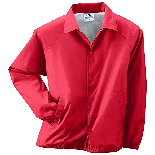 - Augusta Activewear Nylon Coach's Jacket/Lined, Red, XX Large