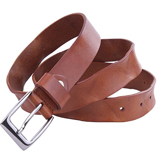 Nidicus Handmade Single Prong Metal Buckle Rugged Natural Genuine Leather Belt Camel 110