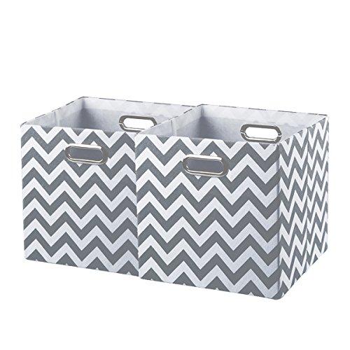 BAIST Chevron Storage bin,Large Square Heavy Duty Colored Canvas Decorative Storage Cube Bins Basket Organizer fortoys Towels Clothes, 2 Pack