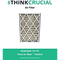 1 Replacement Pleated Furnace Air Filter, Compatible with Trion Air Bear 255649-101 Pleated Furnace Air Filter 16x25x3 (16 x 25 x 3) Merv 8, by Think Crucial