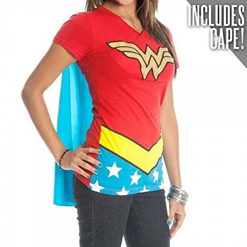Juniors T-Shirt – Wonder Woman – V-Neck Costume Tee with Cape,Red,Medium