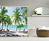 Beach Shower Curtain Palm Tree Decor by Ambesonne, Palm Leaves and Catalina Island Seashore Coastal Panoramic Picture, Fabric Bathroom Shower Curtain Set with Hooks, 84 Inches Extra Long, Blue Green
