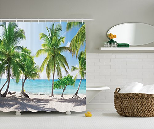 Beach Shower Curtain Palm Tree Decor by Ambesonne, Palm Leaves and Catalina Island Seashore Coastal Panoramic Picture, Fabric Bathroom Shower Curtain Set with Hooks, 84 Inches Extra Long, Blue Green (Palm Tree Bathroom Decor Ideas)