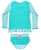 RuffleButts Little Girls Rash Guard 2-Piece Long Sleeve Swimsuit Set - Aqua Stripe Polka Dot UPF 50+ Sun Protection - 3T