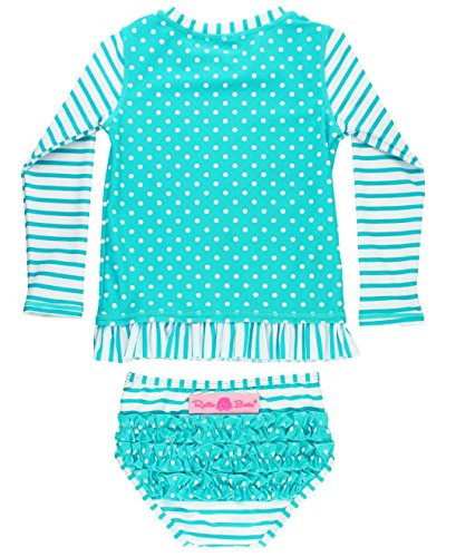RuffleButts Baby/Toddler Girls Rash Guard 2-Piece Long Sleeve Swimsuit Set - Aqua Stripe Polka Dot UPF 50+ Sun Protection - 12-18m