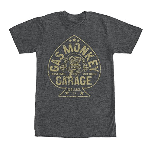 Fast N' Loud Gas Monkey Garage Aces High Official Licensed Men's T-Shirt, Charcoal Grey (3X-large) (Ace Monkeys)