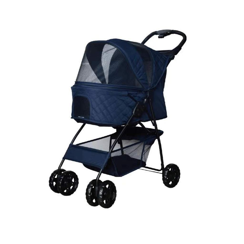 Four rounds Threewheeled Pet Stroller Folding Multifunction Outdoor Small And Mediumsized Cat And Dog Fourwheel Bracket, With Cup Holder (Size   Four rounds)