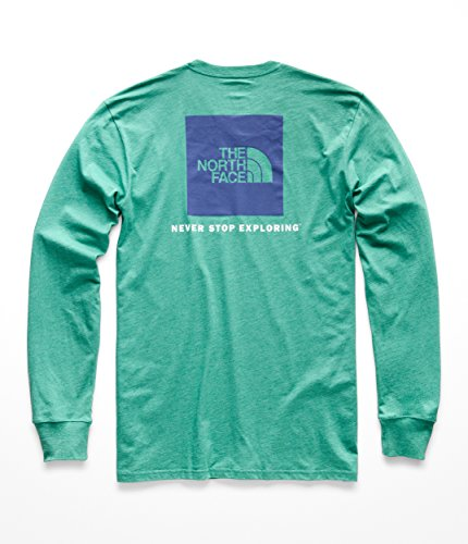 The North Face Men's L & S Red Box Tee - Porcelain Green Heather & Deep Blue - XL