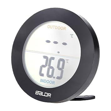 Termómetro digital remoto inalámbrico, termómetro inalámbrico Pantalla LCD Temperatura interior exterior del sensor(Negro