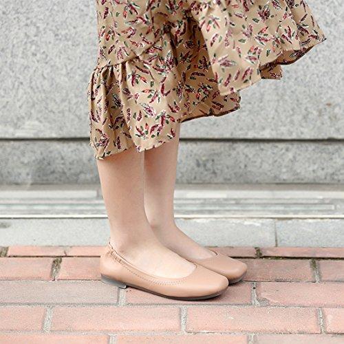 Ballett Square Grund Rosa Ballerina Komfort Flache Schuhe Toe YIBLBOX Casual Frauen On Slip nqFfExp8Iw
