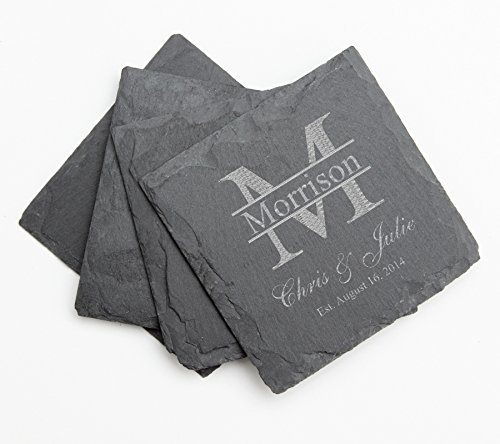 Personalized Slate Coaster Set, Custom Engraved Slate Coasters Monogram Design 24-Engraved Wedding Gift, Anniversary Gift, Bridal - Engraved Slate