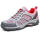 LGXH Breathable Womens Hiking Shoes Lightweight Outdoor Ladies' Sports Casual Trail Trekking Sneakers Pink Size 7 B(M) US Women