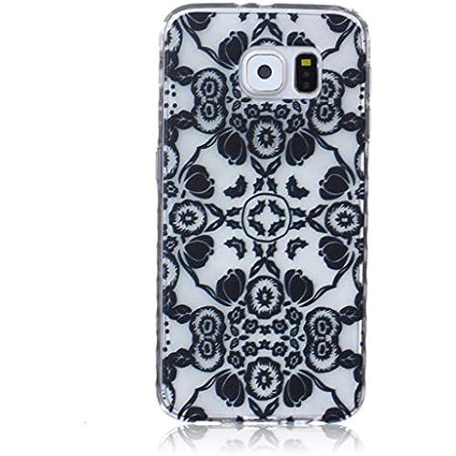 For Samsung Galaxy S7 Case / 5.1 SM-G930F, ANGELLA-M Soft Flexible - Fashion Black Flower Ultra-thin Silicone TPU Bumper Protective Cover Case Sales