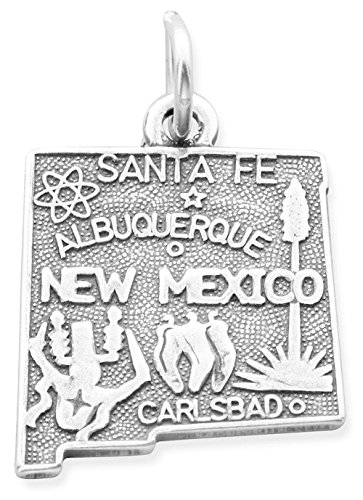 Oxidized Sterling Silver Charm, State of New Mexico, 3/4 inch