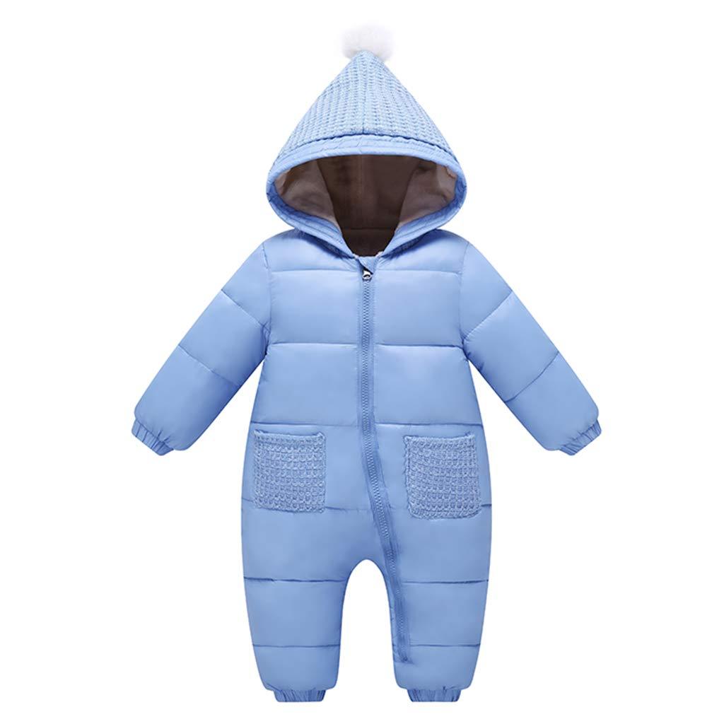 Bebé Mono Mameluco de Invierno Traje de Nieve Espesar peleles con capucha - Azul, 0-3 Meses Vine Trading Co. Ltd K180807PF00205V