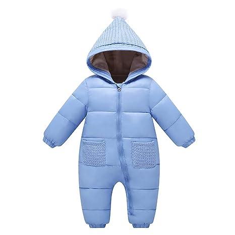 Bebé Mono Mameluco de Invierno Traje de Nieve Espesar peleles con capucha - Azul, 0-3 Meses