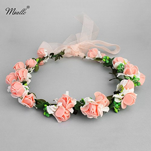 h Rattan Flower Headband Hair Band Floral Brown Garland for Festival Wedding Beach (Organza Garland)