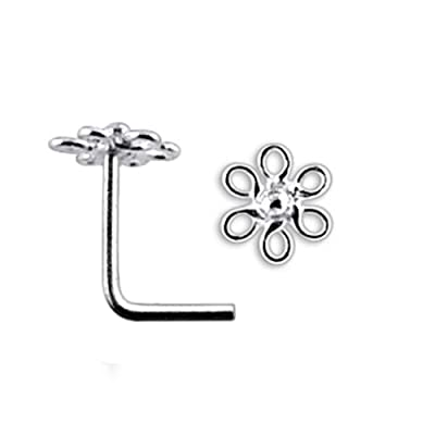 2mm Ball 925 Sterling Silver Nose Stud straight bend yourself to L-Shape plain
