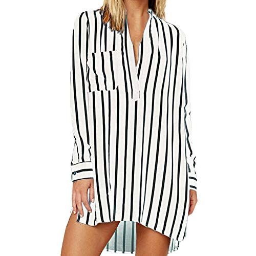 LIM&Shop Women Summer Shirt Plus Size Tunic Top Long Sleeve Striped T-Shirt Casual Mini Dress V-Neck Pockted Slimming White
