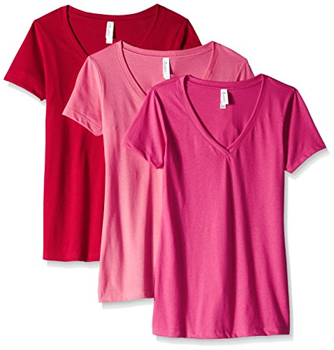 Clementine Apparel Women's Petite Plus Ideal V-Neck T-Shirt (Pack of 3), Hot Pink\Raspberry\Red, XL