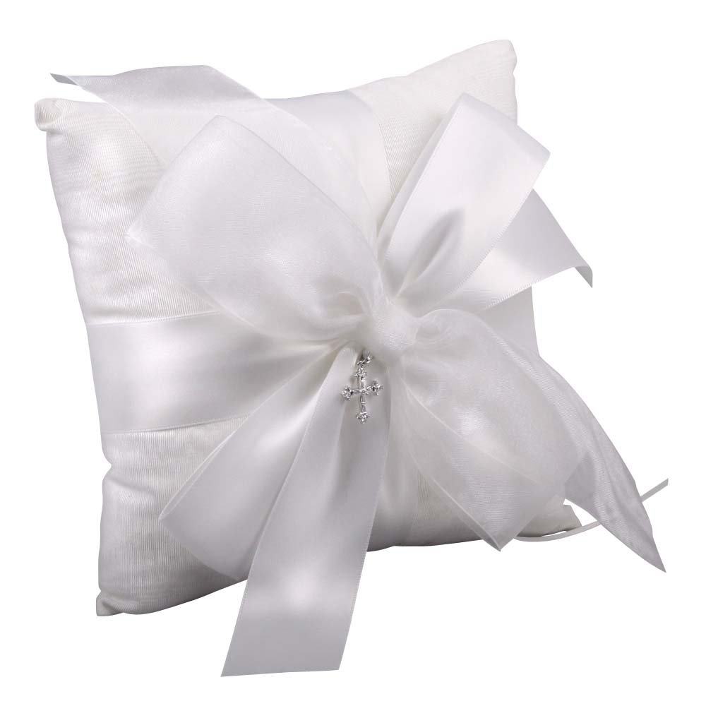 Beverly Clark Collection Grace, Ring Bearer Pillow with Crystal Cross, White
