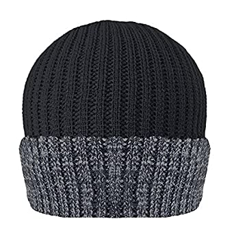 8e4d29e877c Mens Knitted Turn Up Thinsulate Thermal Winter Hat Black With Grey Trim  (40g) Thinsulate  Amazon.co.uk  Clothing