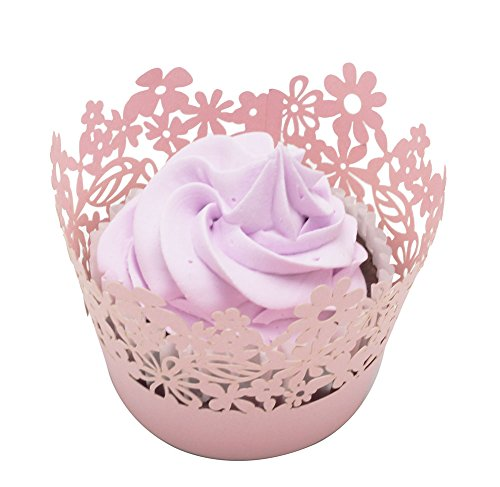 Betop House Flower Leaf 50 Pieces Cupcake Wrappers, Pink ()