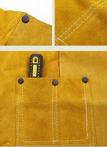 Phoenixfly99 Leather Welding Bib Apron Cowhide Split Leather Safety Apparel Flame Resistant Apron With Pocket Yellow (28-Inch By 39-Inch) by Phoenixfly99 (Image #8)