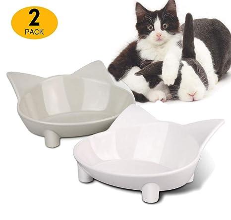 Xiruisz – Comedero para Gatos, 2 Unidades de Cuenco para Comida ...