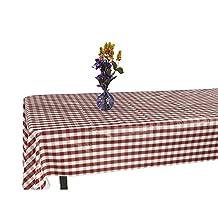 """Ottomanson Vinyl Red Checkered Design 55"""" X 70"""" Indoor & Outdoor Non-Woven Backing Tablecloth"""