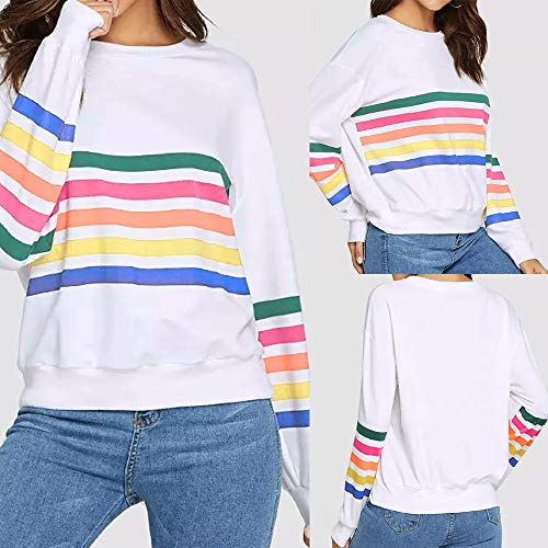 Kemilove Women Round Neck Simple Color Casual Long Sleeve Stripe Print Pullover Blouse Shirts Sweatshirt by Kemilove (Image #5)