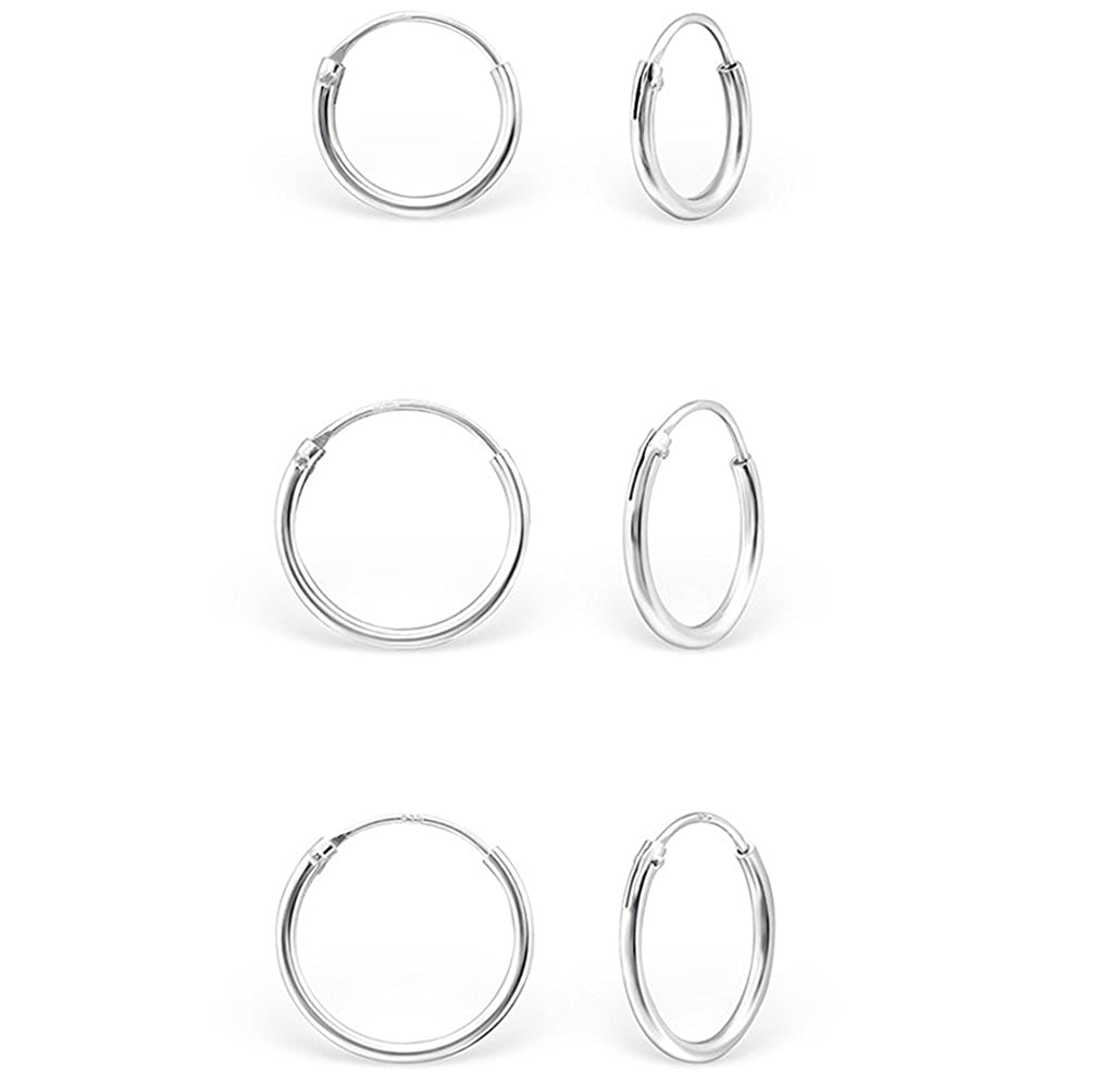 DTPSilver - 925 Sterling Silver Small Hoops Earrings - Thickness 1.2 mm - Diameter 12 mm d5QDQbmi8