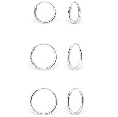 DTPSilver - 925 Sterling Silver Tiny Hoops Earrings - Thickness 1.2 mm - Diameter 10 mm F1Y9VbV2yU