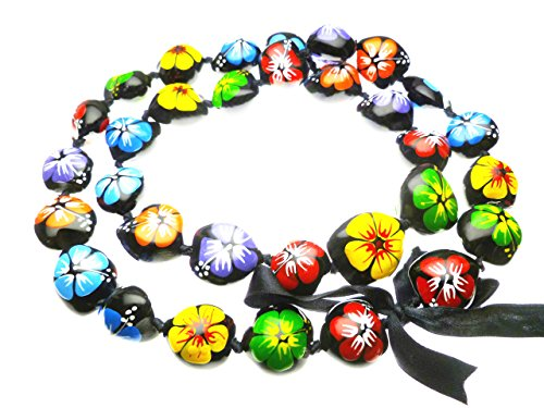 Hawaiian Style Kukui Nut Lei, Hand Painted Multi-color Hibiscus 32 Inches (Painted Nuts Kukui)