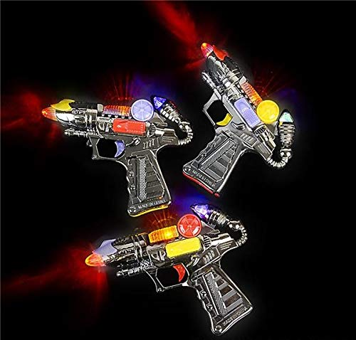 Rhode Island Novelty 7 Inch Flashing LED Light Up Space Ray Blaster Guns Lot of 6 (Ray Toy Gun)