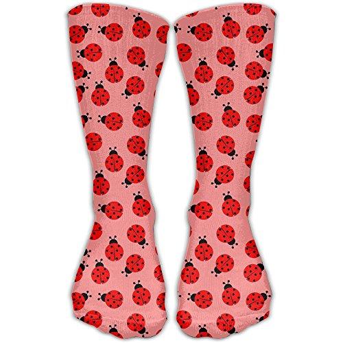 Ju Ju Ladybug (Adorable Red Ladybug Pattern Printed Funny Casual Cotton Crew Socks Winter Soft Warm Comfort Cozy Socks)