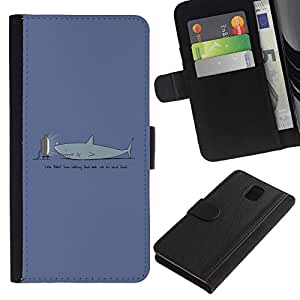 All Phone Most Case / Oferta Especial Cáscara Funda de cuero Monedero Cubierta de proteccion Caso / Wallet Case for Samsung Galaxy Note 3 III // Funny TV Shark