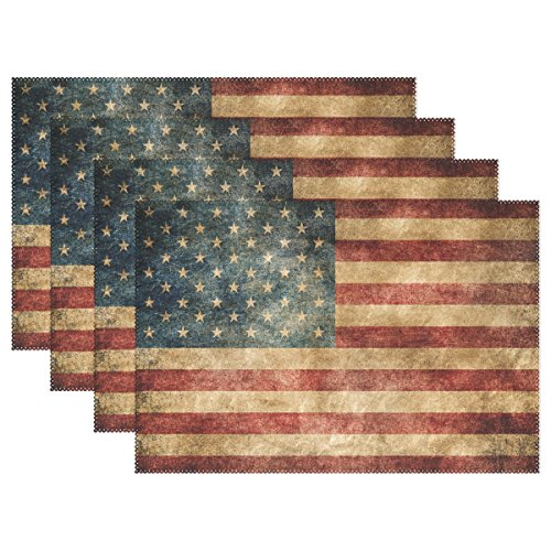 Vintage American Flag 4th of July Patriotic Freedom Stars Heat-Resistant Table Placemats Set of 4 Anti-Skid Table Mats Washable Eat Mat Home Dinner Decorative