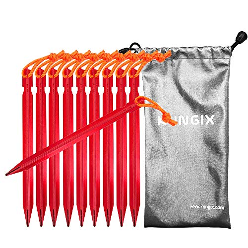 Kungix Tent Stakes Pegs 7 Aluminium Alloy with Reflective Rope 10-Piece (Red)