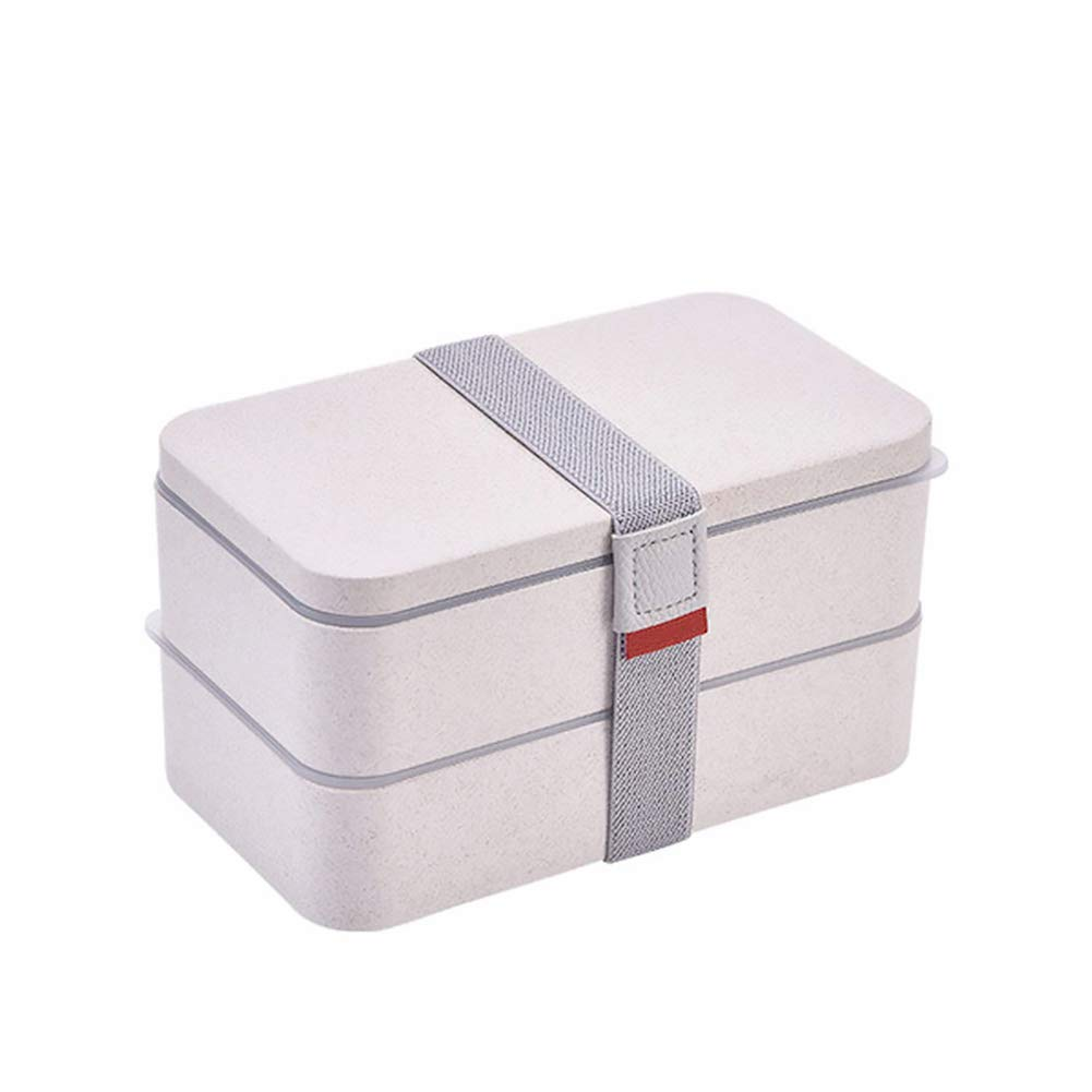 1PC Double Layer Lunch Box Beige Wheat Straw Bento Box for Kid Student Adult Eco Friendly Japanese Style Lunch Box