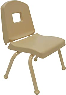 """product image for Creative Colors 1-Pack 12"""" Kids Preschool Stackable Split Bucket Chair in Tan with Tan Frame and Ball Glide"""