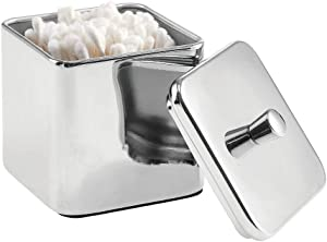 mDesign Square Metal Bathroom Vanity Countertop Storage Organizer Canister Apothecary Jar for Cotton Swabs, Rounds, Balls, Makeup Sponges, Blenders, Bath Salts - Chrome