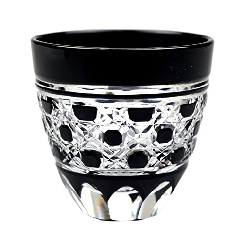Guinomi Sake Cup Shot Glass Edo Kiriko Design Cut Glass Black - Hakkaku-Kagome Octagon Pattern [Japanese Crafts Sakura]