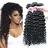 3pcs Deep Curly Brazilian Hair Weave Bundles Virgin Brazilian Deep Wave Hair Extensions 7a Virgin Hair Unprocessed Human Hair Weave (14 16 18inches) Review
