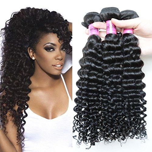 3pcs Deep Curly Brazilian Hair Weave Bundles Virgin Brazilian Deep Wave Hair Extensions 7a Virgin Hair Unprocessed Human Hair Weave (14 16 18inches) Review