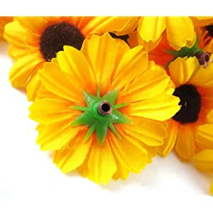 "(100) Silk Yellow Sunflower Gerbera Daisy Flower Heads , Gerber Daisies - 1.75"" - Artificial Flowers Heads Fabric Floral Supplies Wholesale Lot for Wedding Flowers Accessories Make Bridal Hair Clips Headbands Dress 4"